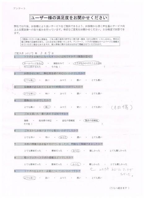 お客様アンケート 東京都 スバルサンバー TT2 標準Fタイプ