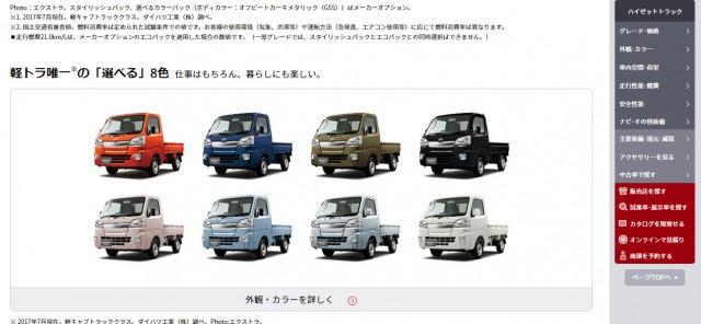 ハイゼット・トラック カラーが9色から8色へ(また変更したの?)