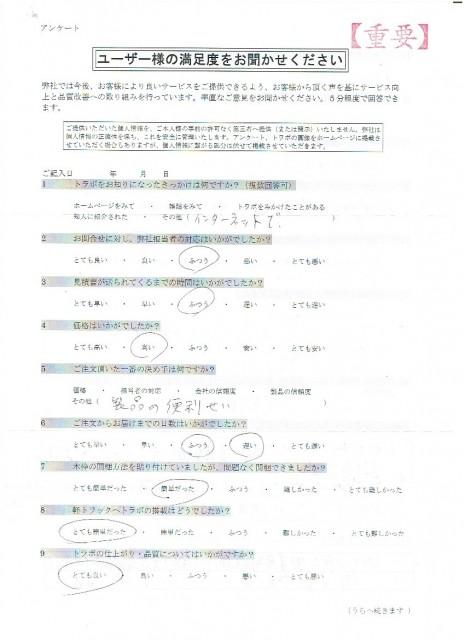 熊本県 軽トラ荷台 アンケート(表)